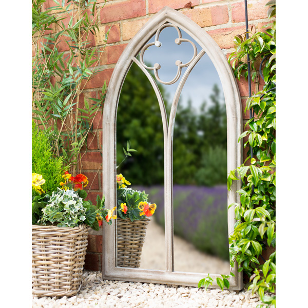 La Hacienda Church Window Steel Garden Wall Mirror