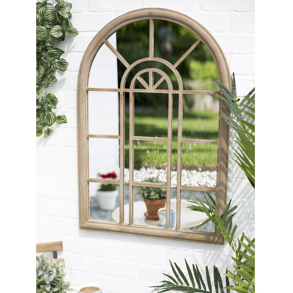 La Hacienda Rounded Arch Steel Garden Wall Mirror