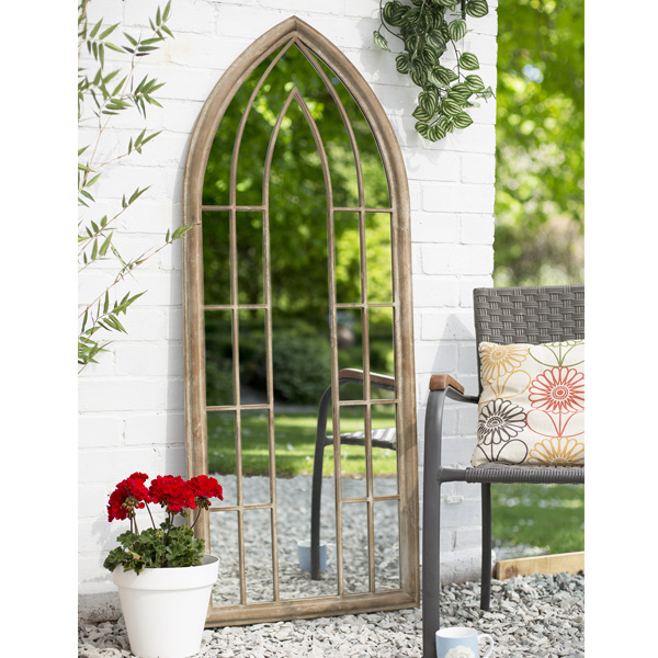 La Hacienda Large Arch Steel Garden Wall Mirror