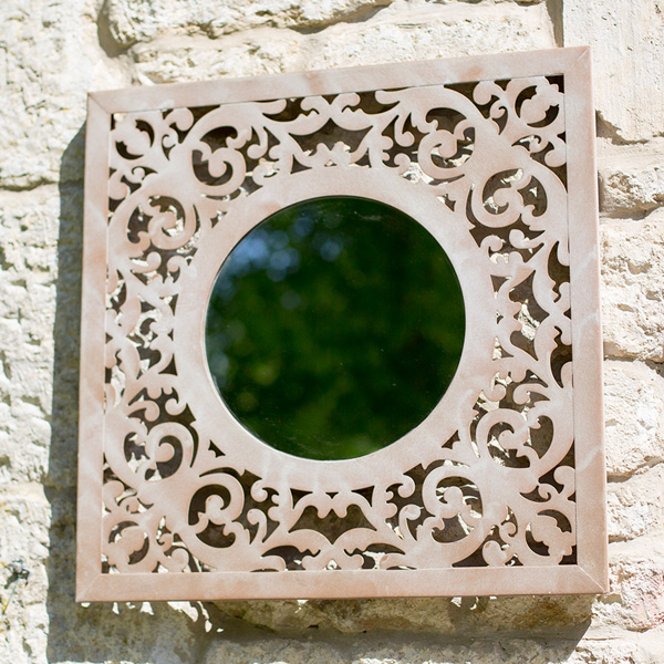 La Hacienda Square Steel Garden Wall Mirror