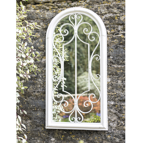 La Hacienda Scrolled Arch Steel Garden Wall Mirror