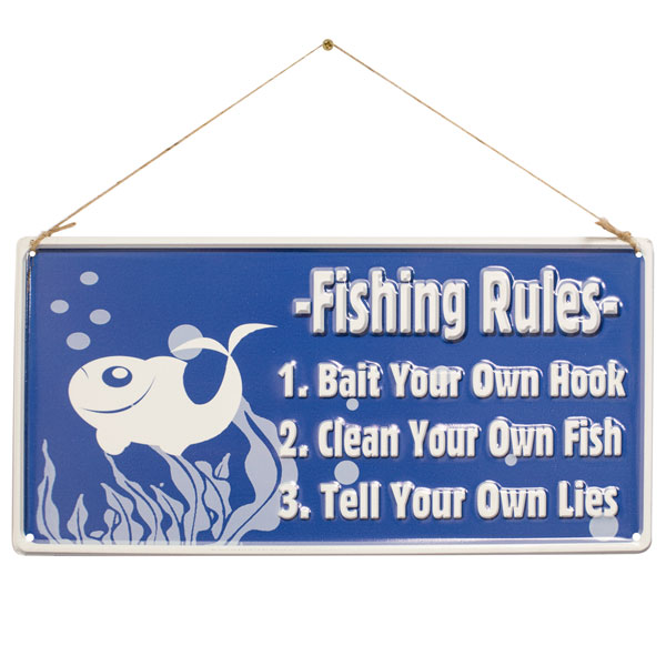 La Hacienda Embossed Steel Sign - Fishing Rules