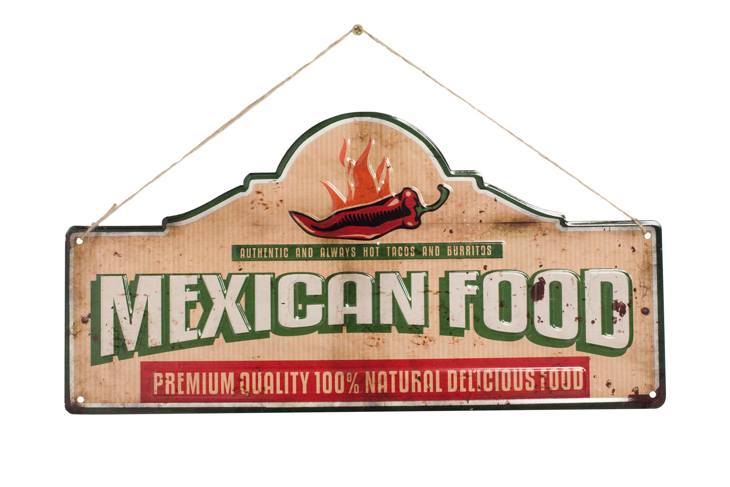 La Hacienda Embossed Steel Sign - Mexican Food