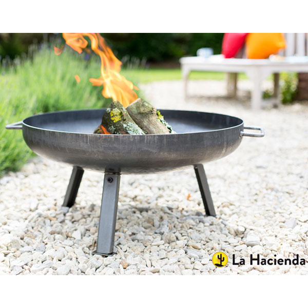 La Hacienda Pittsburgh Small Industrial Heavy Duty Steel Firepit - Oiled Steel