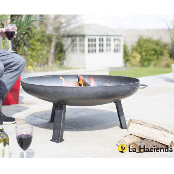 La Hacienda Pittsburgh Medium Industrial Heavy Duty Steel Firepit - Oiled Steel