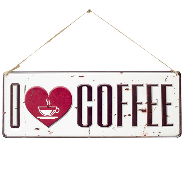 La Hacienda Embossed Steel Sign - I Love Coffee