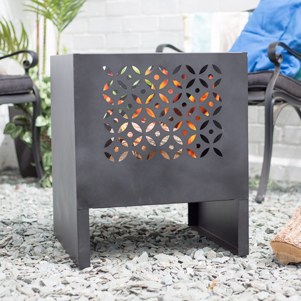 La Hacienda Casablanca Modern Outdoor Fire Basket - Lattice - Black