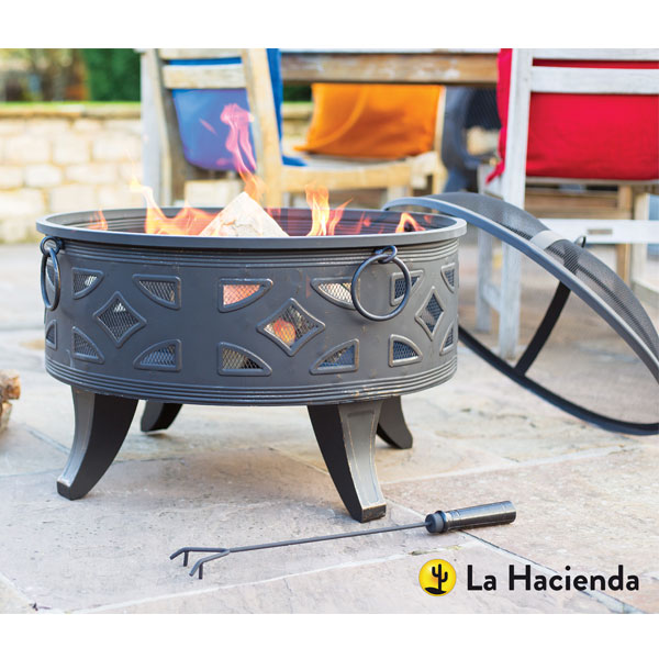 La Hacienda Diamond Deep Steel Fore Bowl With Grill - Brushed Bronze Effect