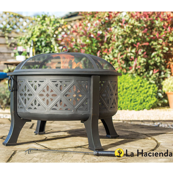 La Hacienda Moresque Deep Steel Fire Pit With Grill - Brushed Bronze Effect