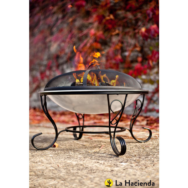 La Hacienda Denver Stainless Steel Fire Bowl - Black/Stainless