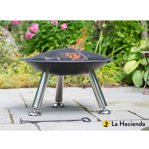 La Hacienda Stamford Steel Fire Bowl - Black/Stainless