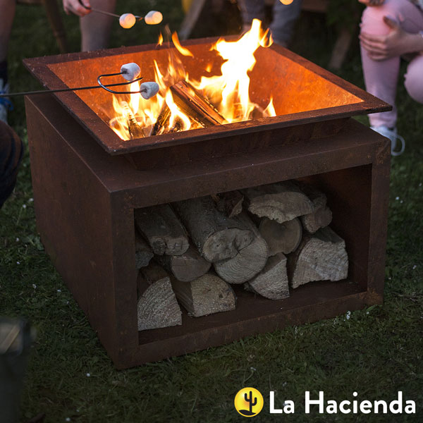 La Hacienda Ruga Oxidised Steel Fire Pit With Stand - Natural Rusted