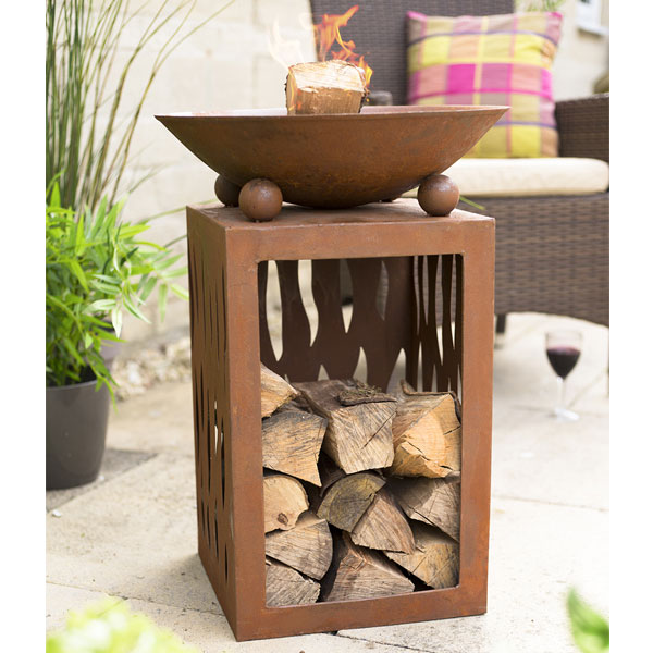 La Hacienda Ochiba Oxidised Steel Fire Pit With Stand - Natural Rusted