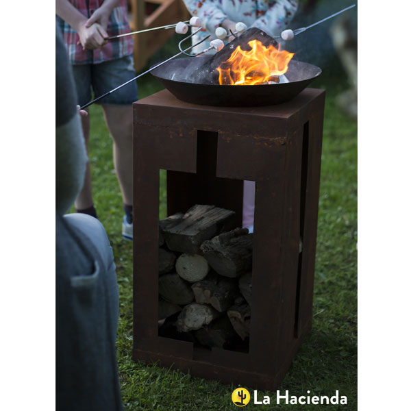 La Hacienda Teya Oxidised Steel Fire Pit With Stand - Natural Rusted