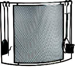 Fire Screen, Laura (screen with tools)