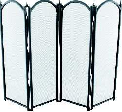 Fire Screen, 4 Fold Black