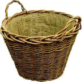 Log Basket, Wild Willow Round And Hessian