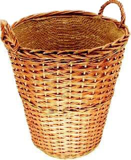 Log Basket, Round Tall + Hessian