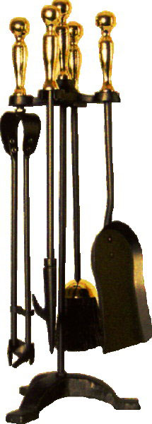 Companion Set Black & Brass, Ball Top