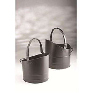 Inglenook Set Of 2 Nested Black Coal Buckets
