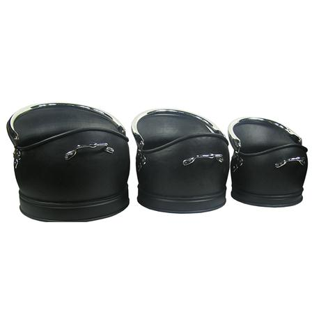 Inglenook Premium Set Of 3 Black & Nickel Helmet Hods