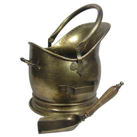 Inglenook Premium Antique Brass Coal Bucket With Shovel