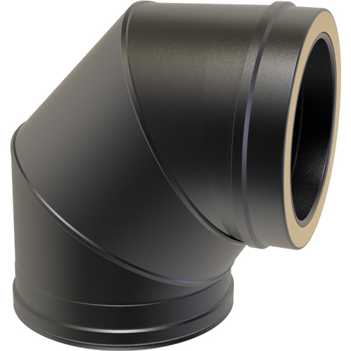 6 Inch Convesa KC 90 Degree Twin Wall Elbow - Black