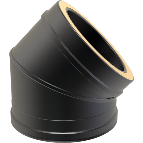 7 Inch Convesa KC 45 Degree Twin Wall Elbow - Black