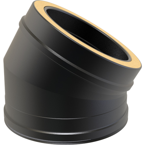 7 Inch Convesa KC 30 Degree Twin Wall Elbow - Black