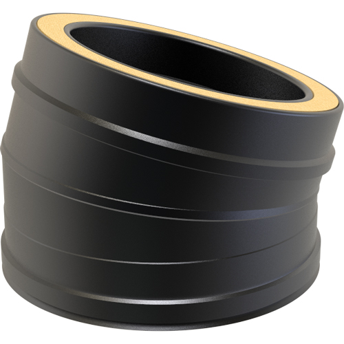 7 Inch Convesa KC 15 Degree Twin Wall Elbow - Black