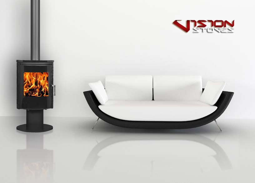 Vision D6 Designer Wood Burning Stove In Granite - 8kw