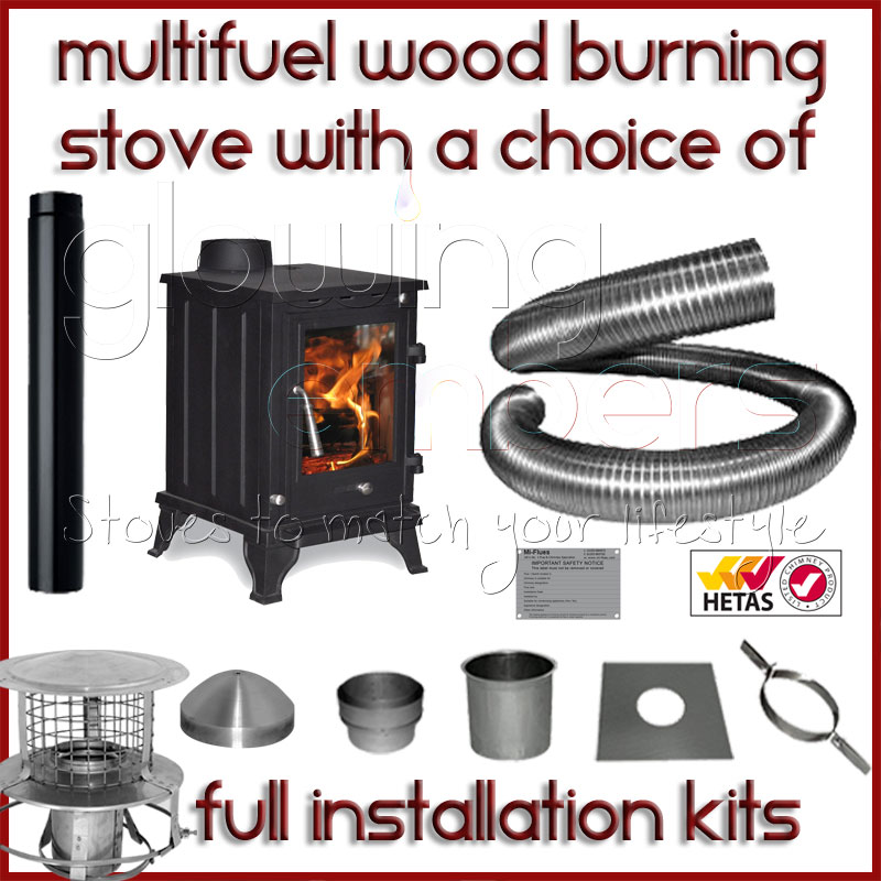 The Rosa 5kw Log Stove and Complete Flue Package