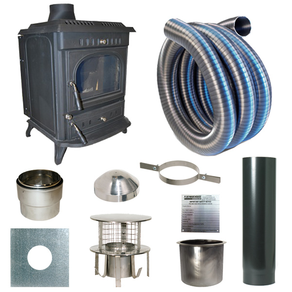 The Slowburn Aidan 11kw Wood Stove and Complete Flue Kit