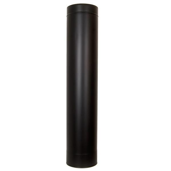 "5"" (125mm) 1000mm Length Of Twin Wall Insulated Flue Pipe - Black"