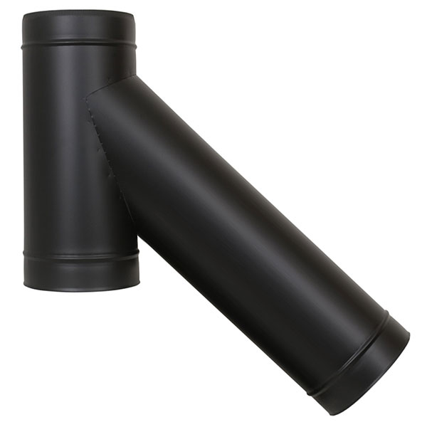 "5"" (125mm) 135° Long Tee Piece - Twin Wall Insulated Flue Pipe - Black"