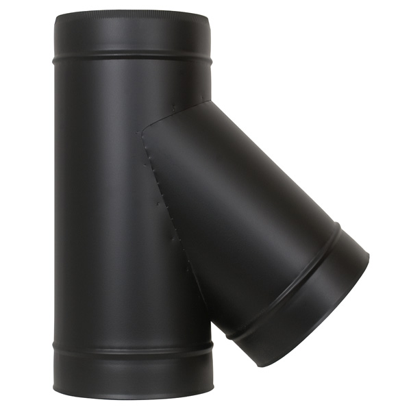 "5"" (125mm) 135° Tee Piece - Twin Wall Insulated Flue Pipe - Black"
