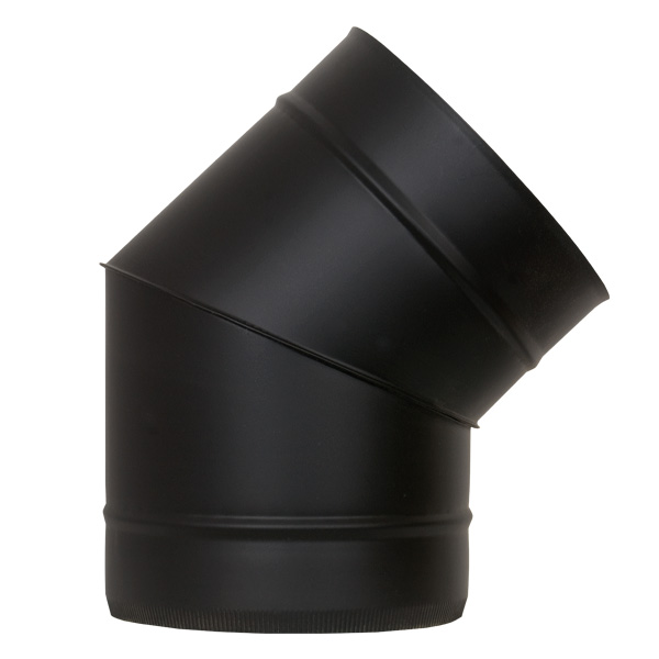 "5"" (125mm) 45° Elbow - Twin Wall Insulated Flue Pipe - Black"