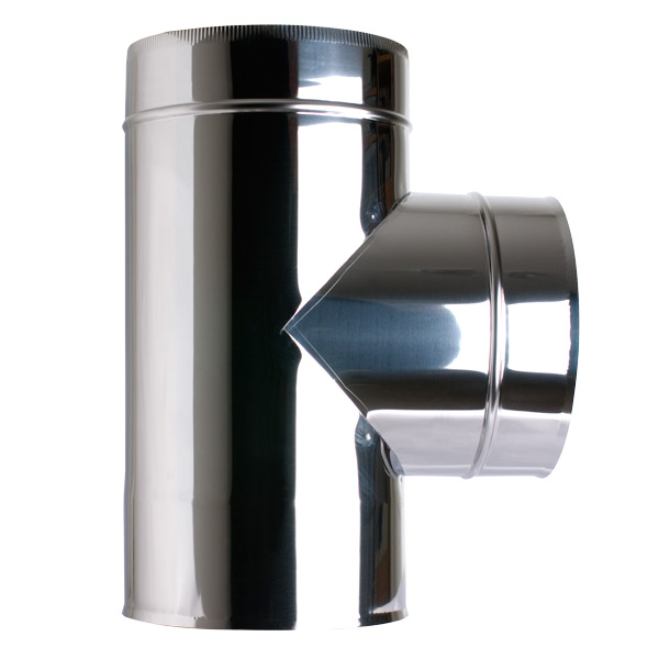 "6"" (150mm) 90° Tee Piece - Twin Wall Insulated Flue Pipe"
