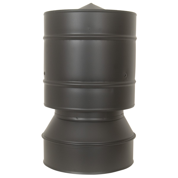 "5"" (125mm) Anti-Wind Cowl - Twin Wall Insulated Flue Pipe - Black"