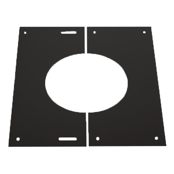"5"" (125mm) 0-30° Finishing Plate - For Twin Wall Flue Pipe - Black"