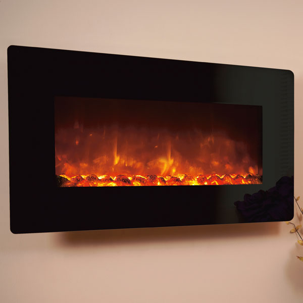 Celsi Electriflame XD 1100 1.5kw Wall Mounted Electric Fire - Black Glass