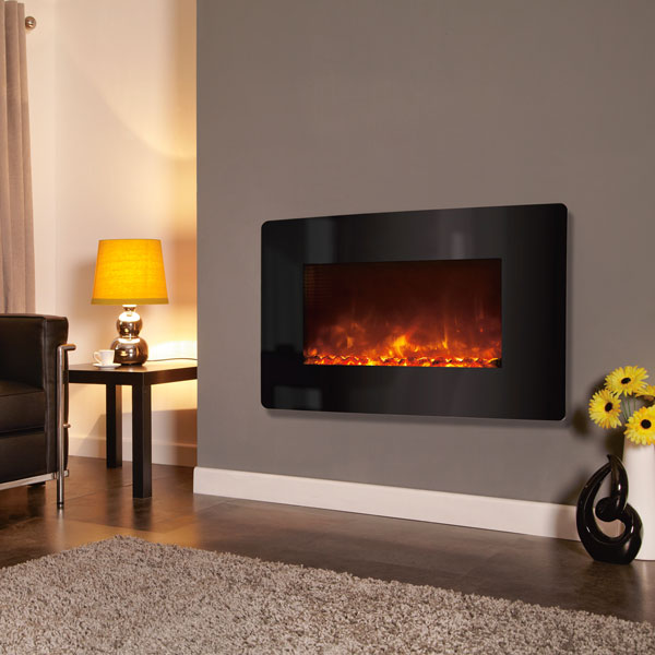 Celsi Electriflame XD 1.5kw Wall Mounted Electric Fire - Curved Black Glass
