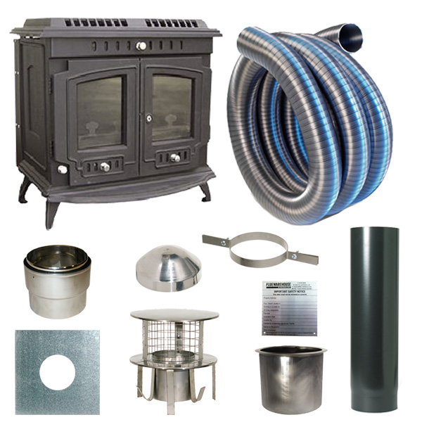 The Slowburn Damascus 10kw Wood Stove and Complete Flue Kit