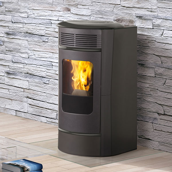Edilkamin Sally 10kw Pellet Stove - Dark Grey Steel