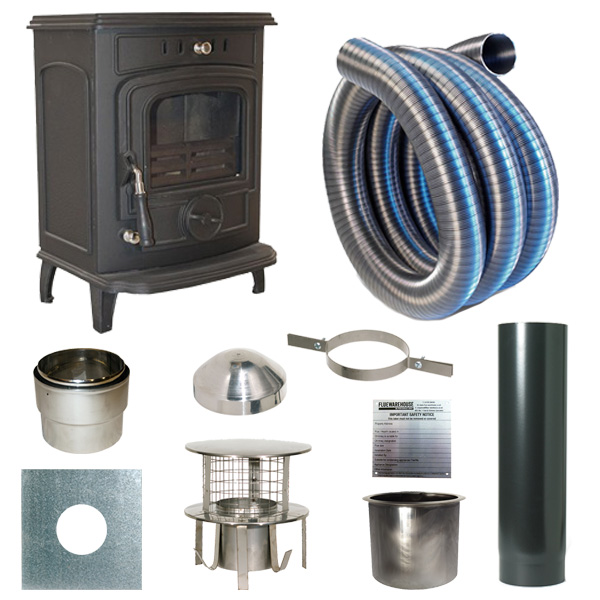 The Slowburn Gabriel 5kw Wood Stove and Complete Flue Kit