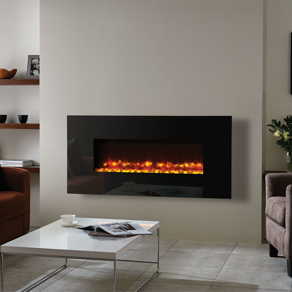 Gazco Radiance 100W Wall Mounted Electric Fire - Black Glass