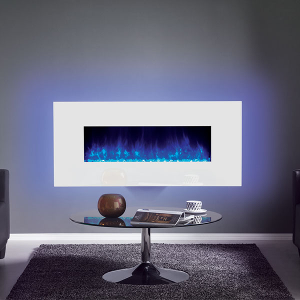 Gazco Radiance 100W Wall Mounted Electric Fire - White Glass
