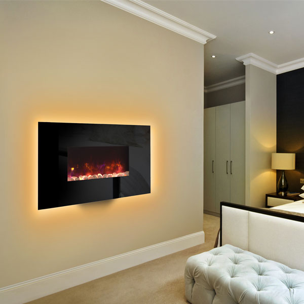 Gazco Radiance 50W Wall Mounted Electric Fire - Black Glass
