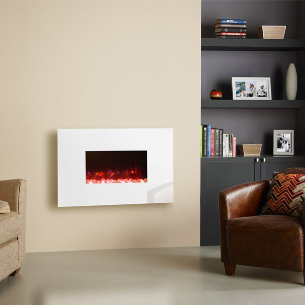 Gazco Radiance 50W Wall Mounted Electric Fire - White Glass