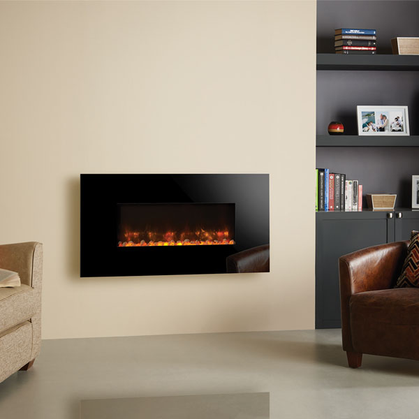 Gazco Radiance 80W Wall Mounted Electric Fire - Black Glass